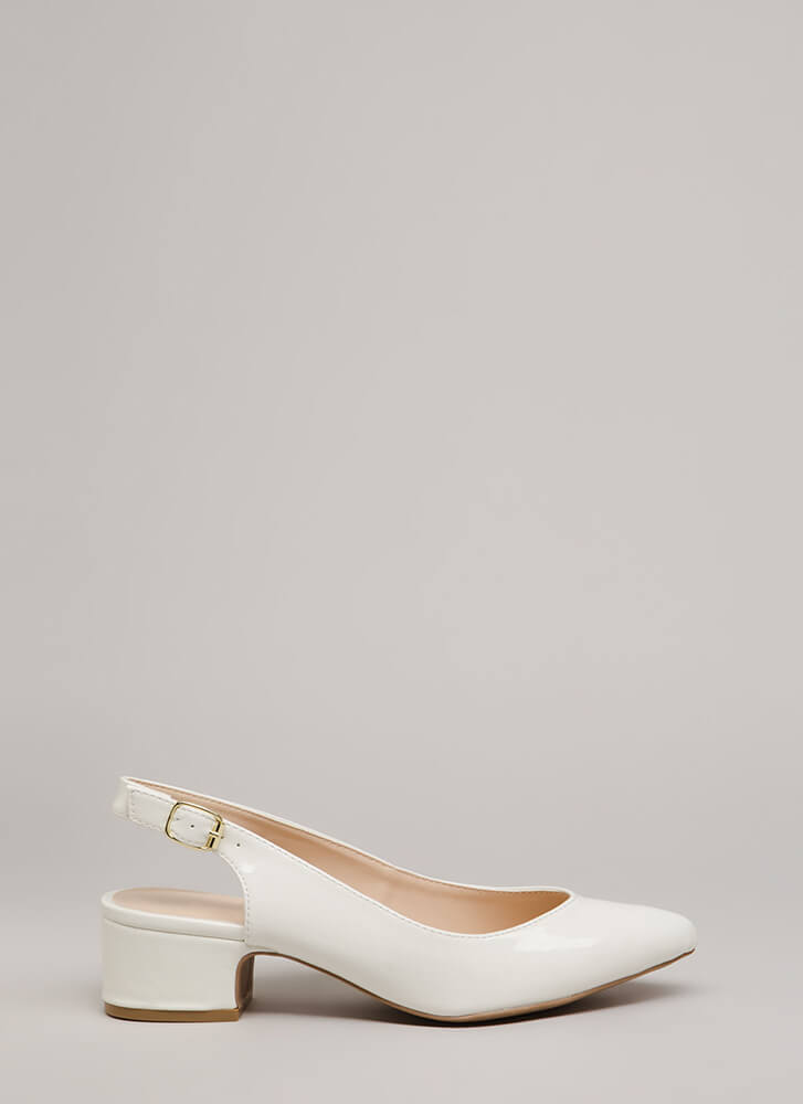 Keep It Short Slingback Block Heels WHITE