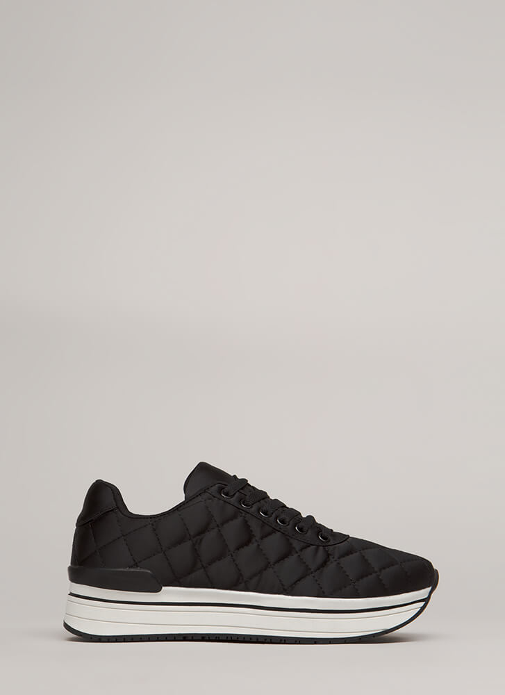 Blanket Statement Quilted Satin Sneakers BLACK