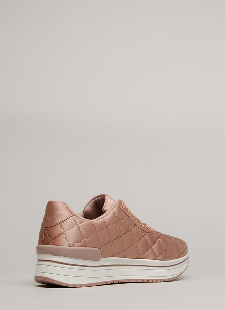 Blanket Statement Quilted Satin Sneakers MAUVE