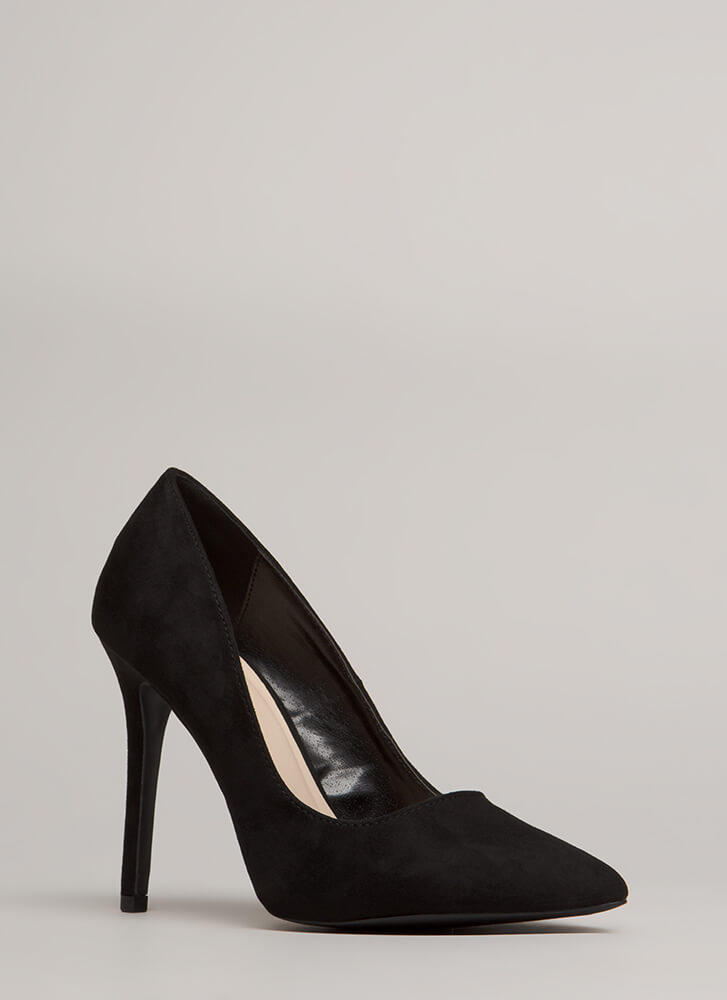 All Signs Point To Faux Suede Pumps BLACK