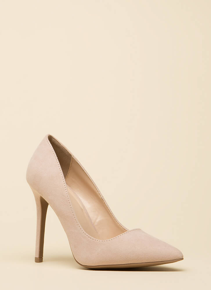 All Signs Point To Faux Suede Pumps NUDE