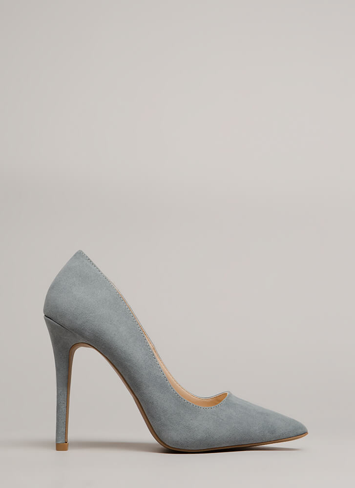 All Signs Point To Faux Suede Pumps SEAGREY
