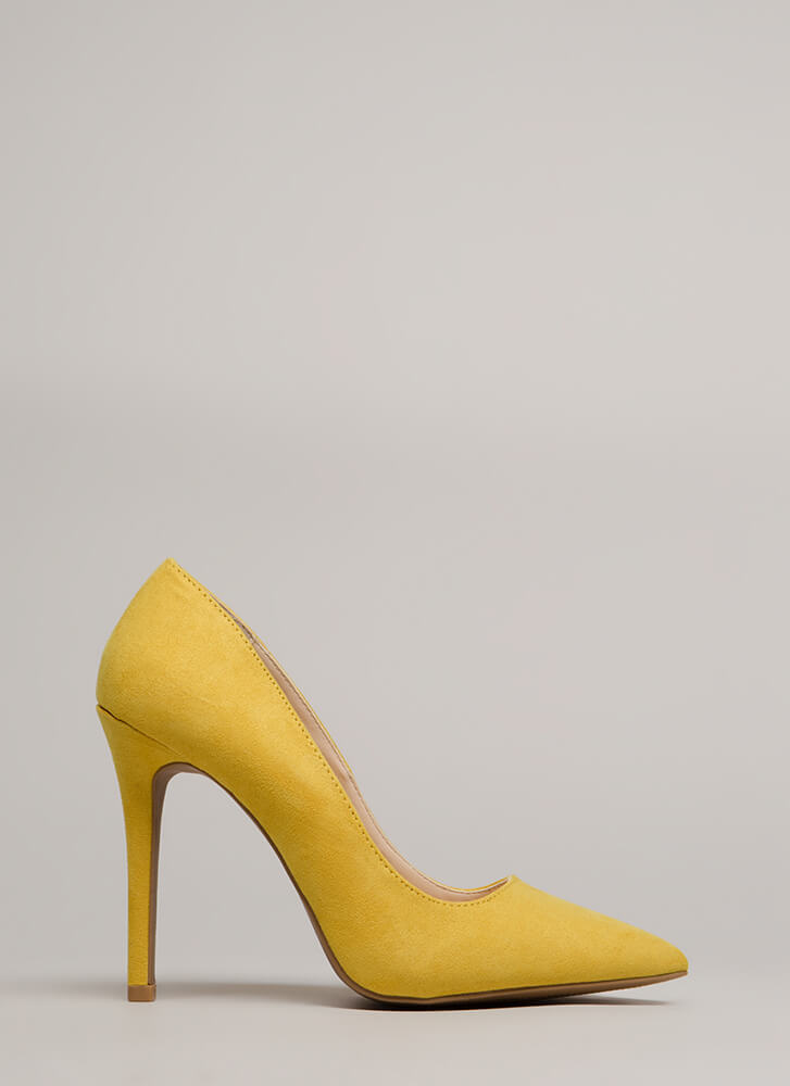 All Signs Point To Faux Suede Pumps YELLOW