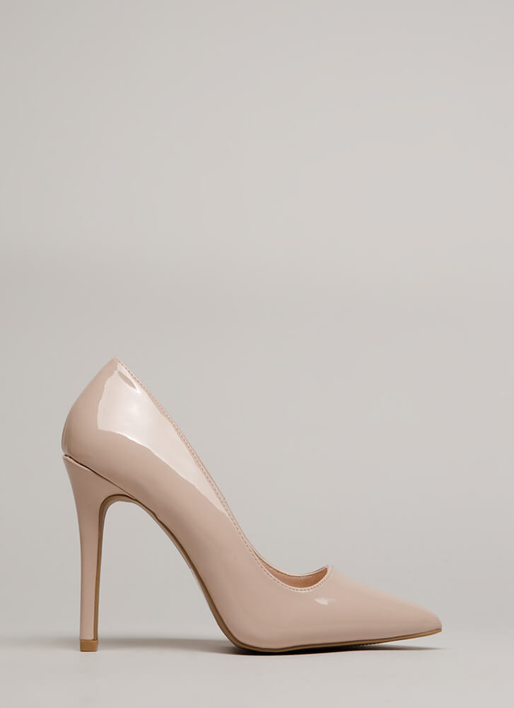 All Signs Point To Faux Patent Pumps NUDE
