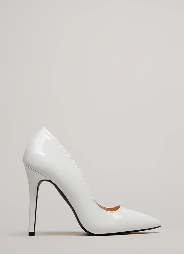 All Signs Point To Faux Patent Pumps WHITE