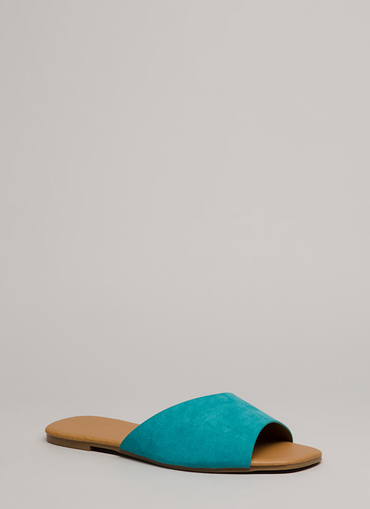 Learning Curve Faux Suede Slide Sandals TEAL