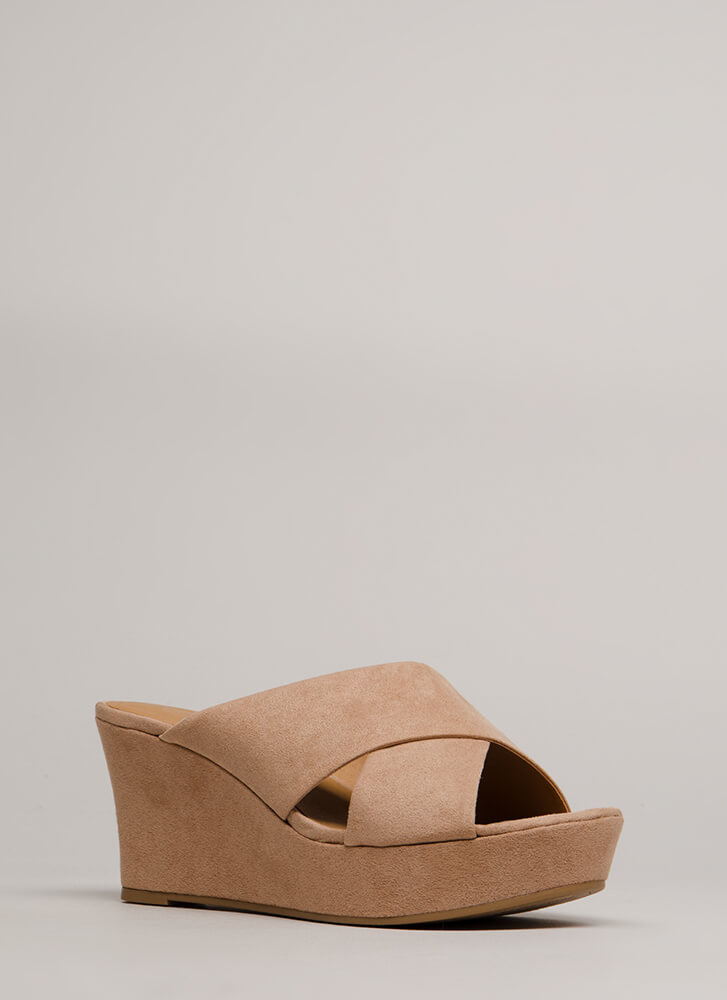 Cross Paths Faux Suede Platform Wedges WARMTAUPE
