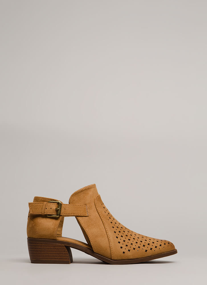 Twinkle Twinkle Chunky Cut-Out Booties CAMEL