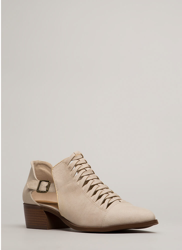 Road Trip Woven Cut-Out Booties BEIGE