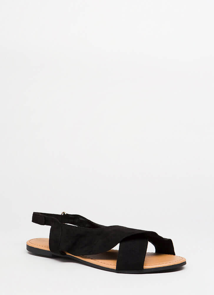 X Marks The Faux Suede Slingback Sandals BLACK