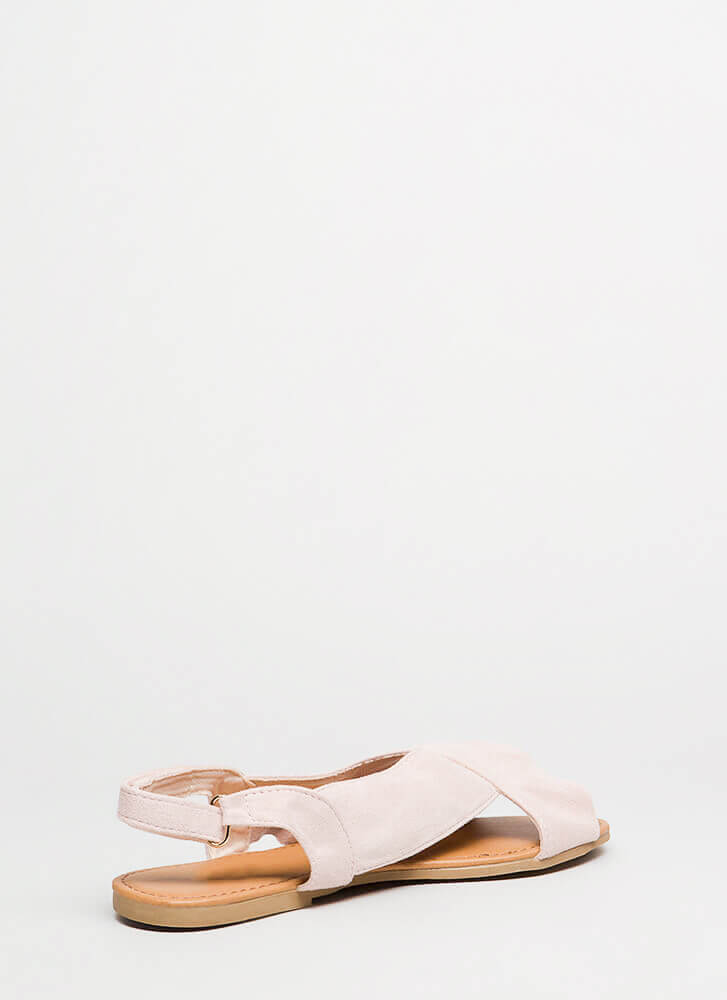 X Marks The Faux Suede Slingback Sandals NUDE