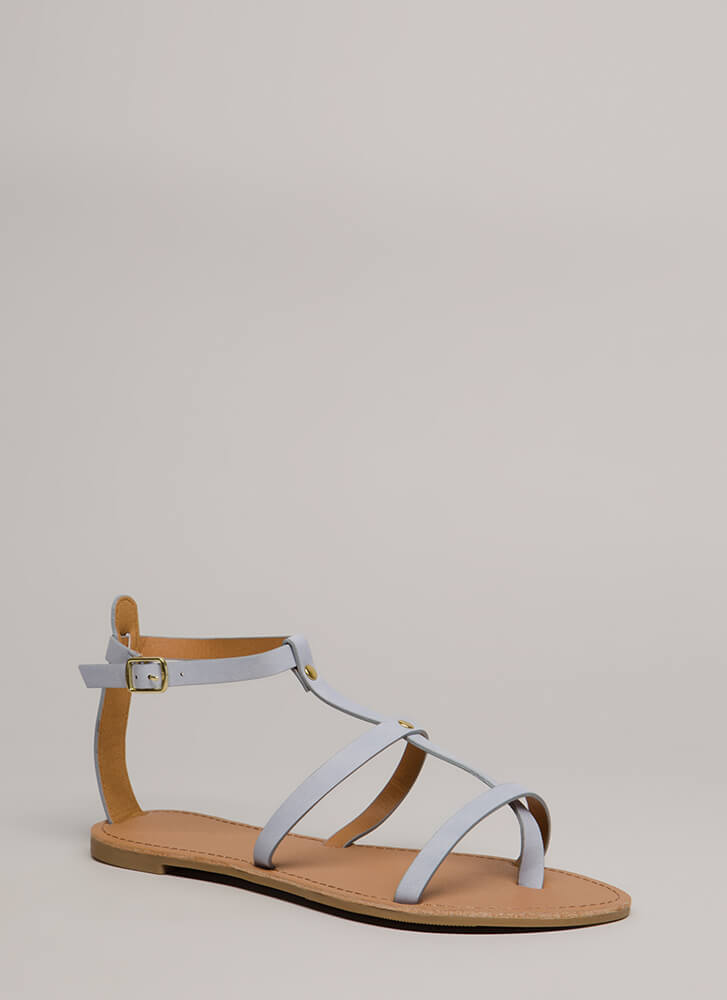 Modern Athena Strappy Caged Sandals ASHBLUE