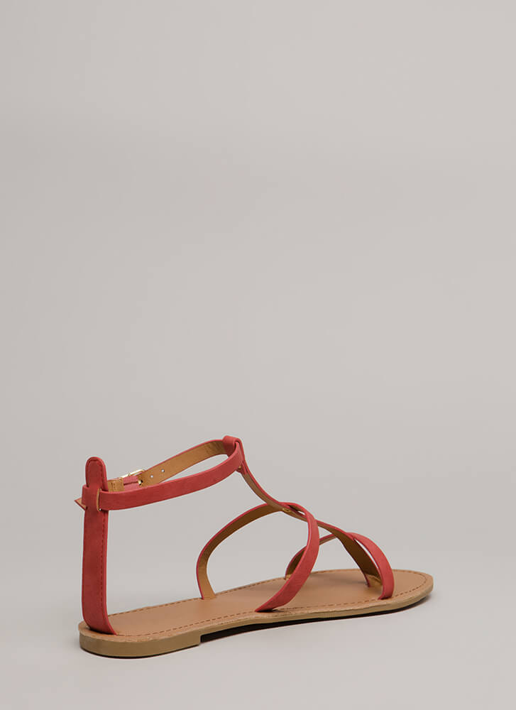 Modern Athena Strappy Caged Sandals CORALROSE