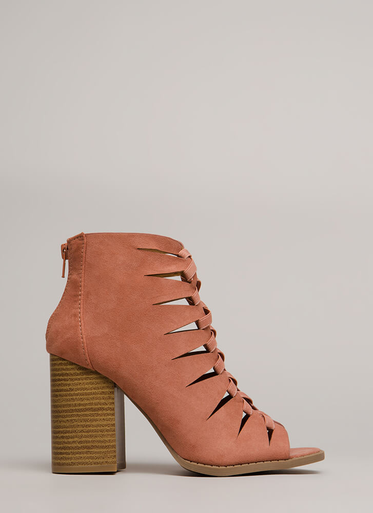 Shooting Daggers Chunky Cut-Out Booties DUSTYBLUSH