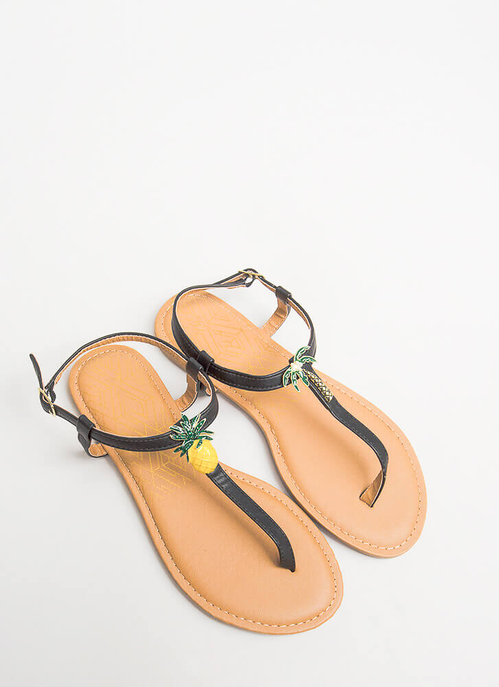 Palms And Pineapples T-Strap Sandals BLACK