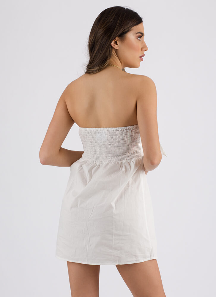 Knot Mine Strapless Button-Up Top WHITE