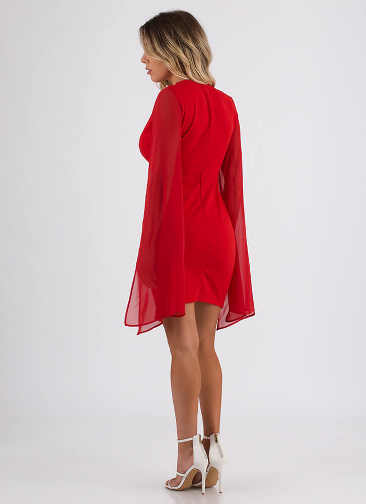 New Necklace Winged Mesh Sleeve Dress RED