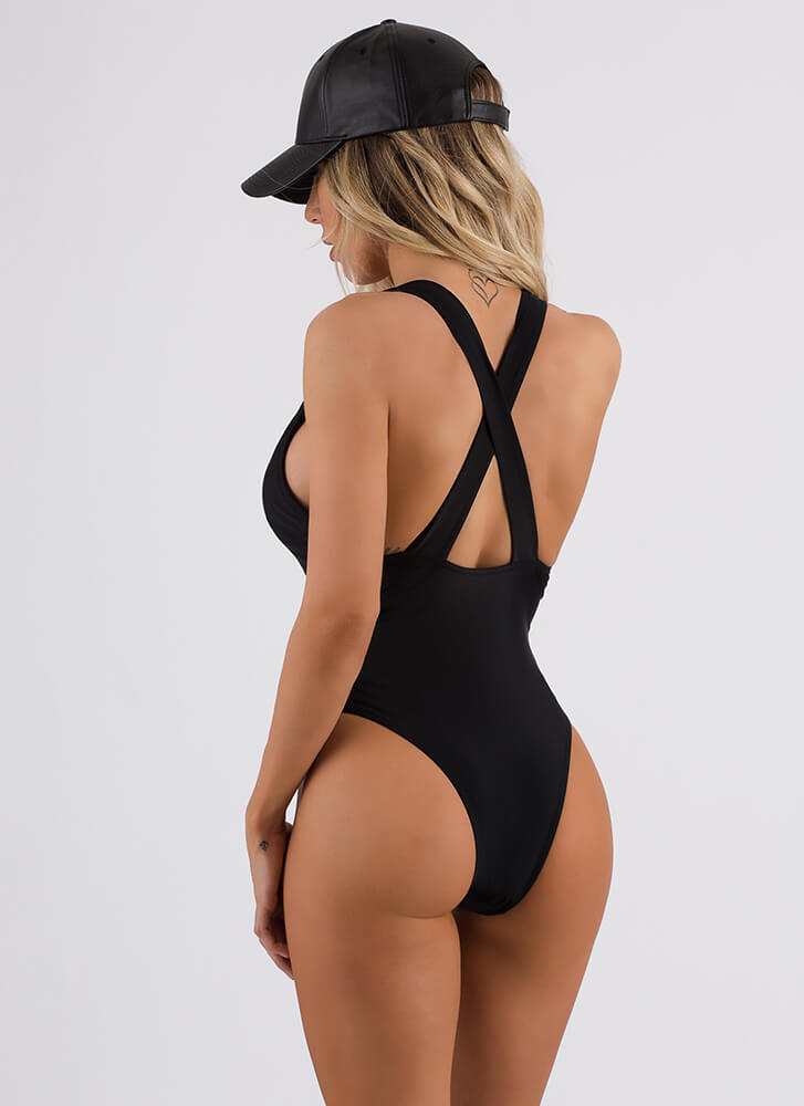 Net My Problem Mesh Contrast Swimsuit BLACK (Final Sale)