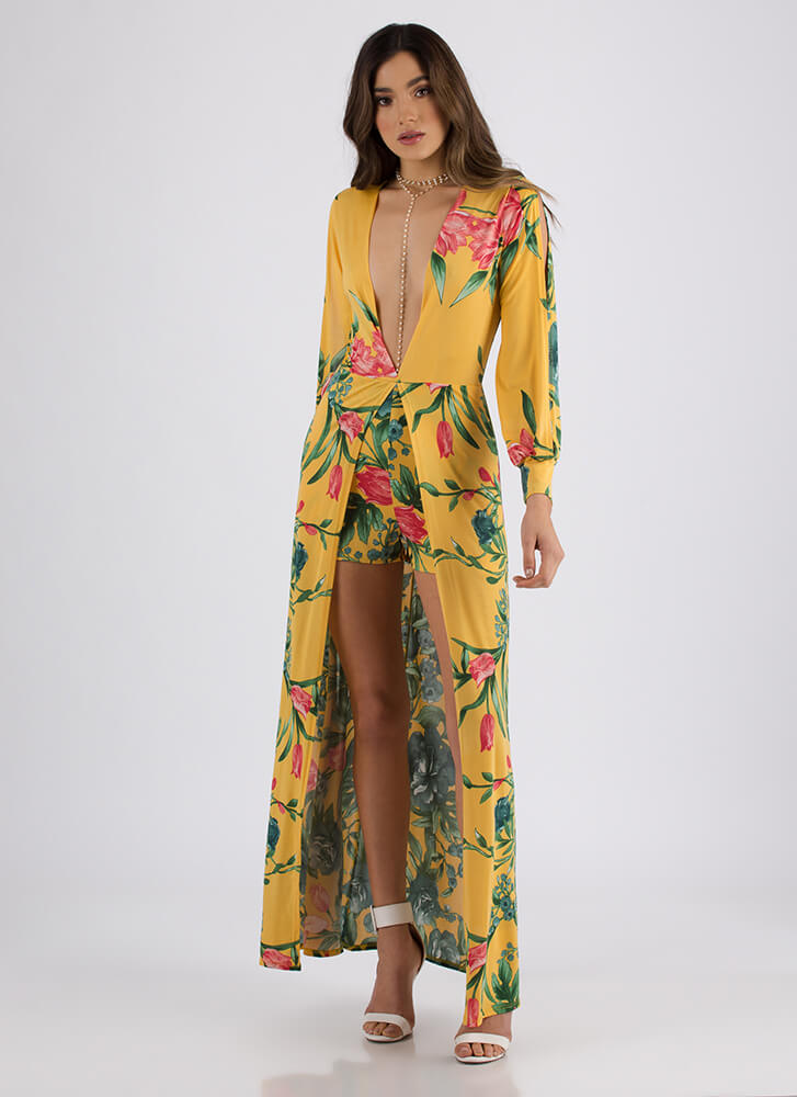 My Garden Grows Plunging Floral Maxi YELLOW