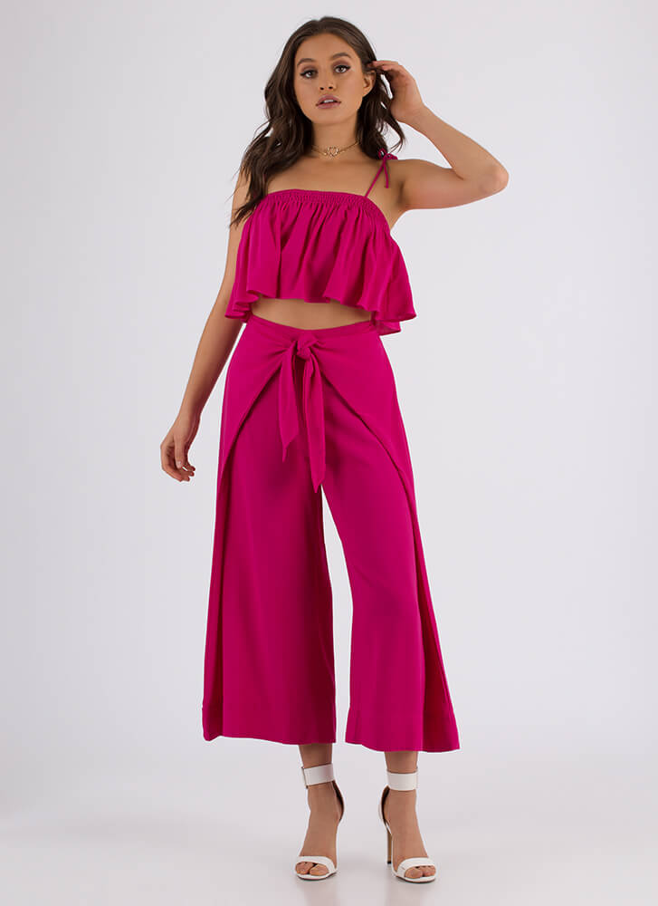 Knot For You Flared Top And Pant Set FUCHSIA
