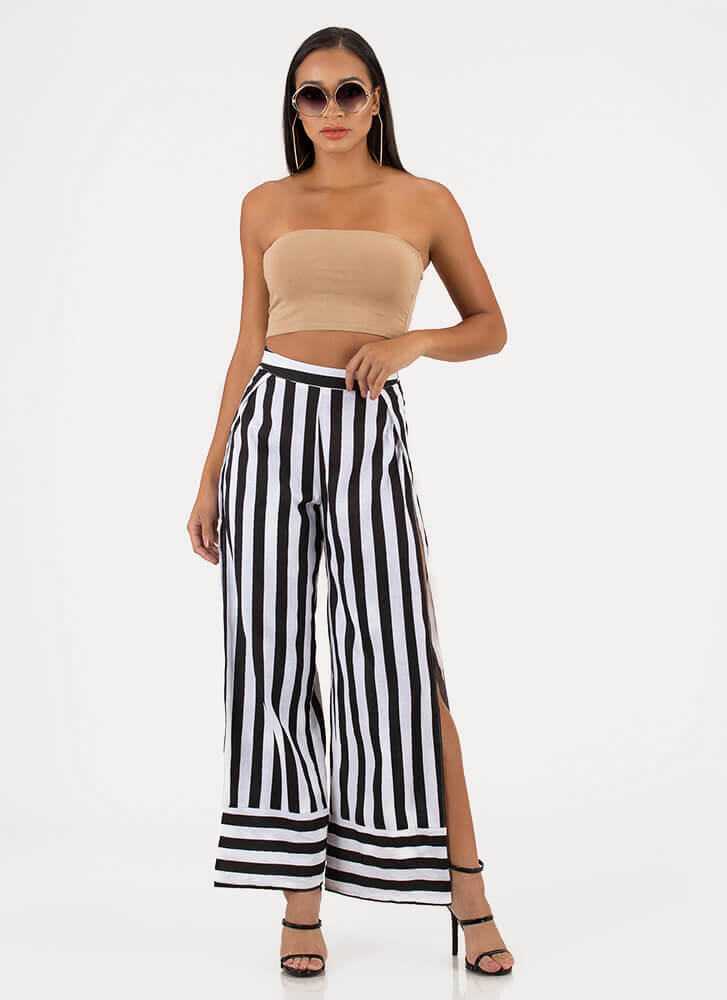 Stripe Force Double Slit Palazzo Pants BLACKWHITE