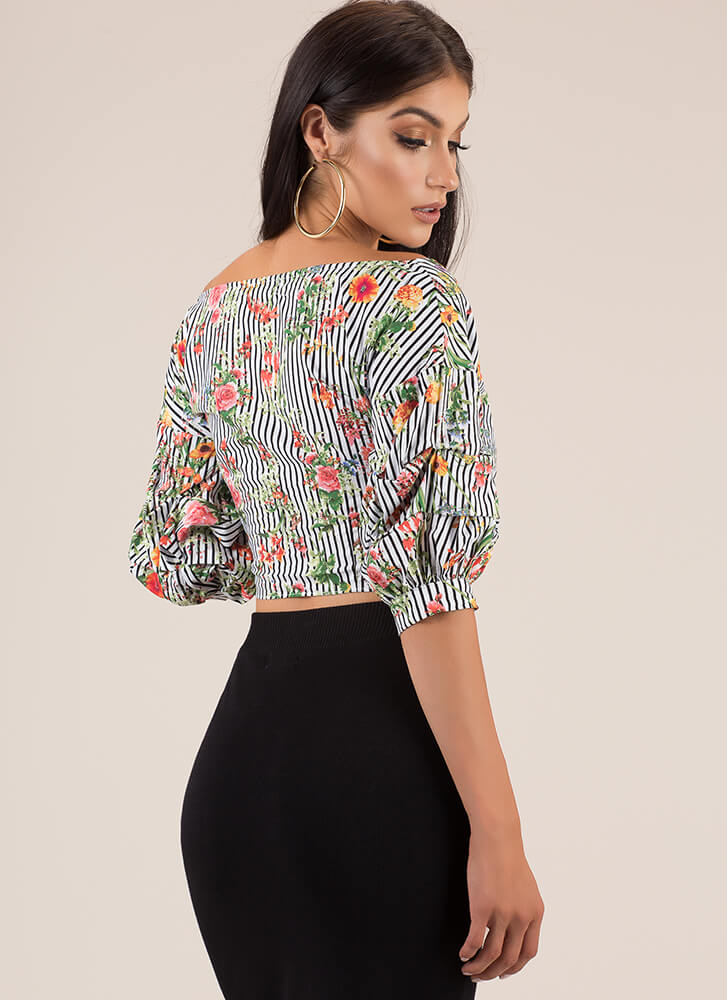 Mixed Flowers Striped Wrapped Crop Top BLACKWHITE