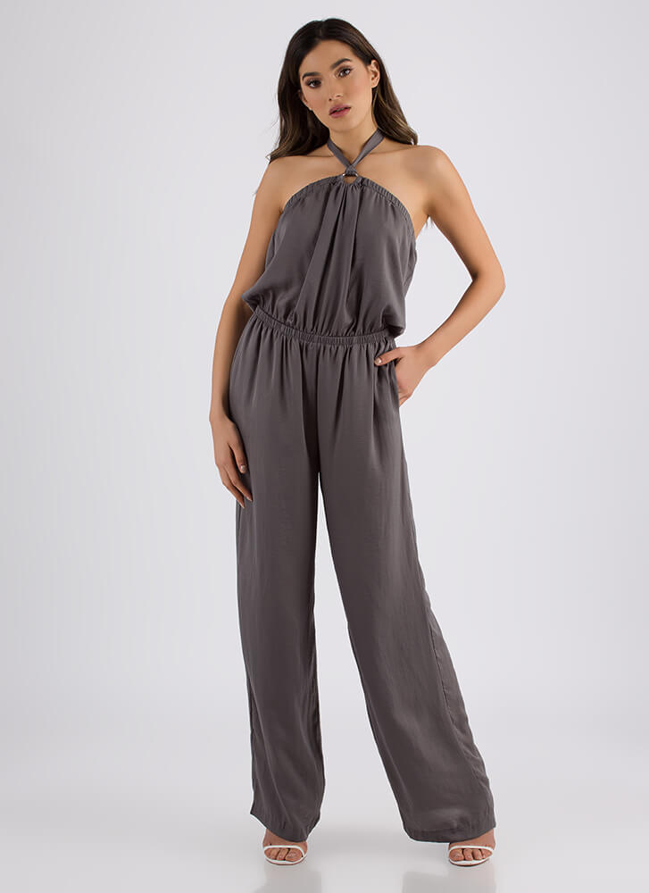 Nice Ring To It Halter Palazzo Jumpsuit ASHGREEN (You Saved $36)