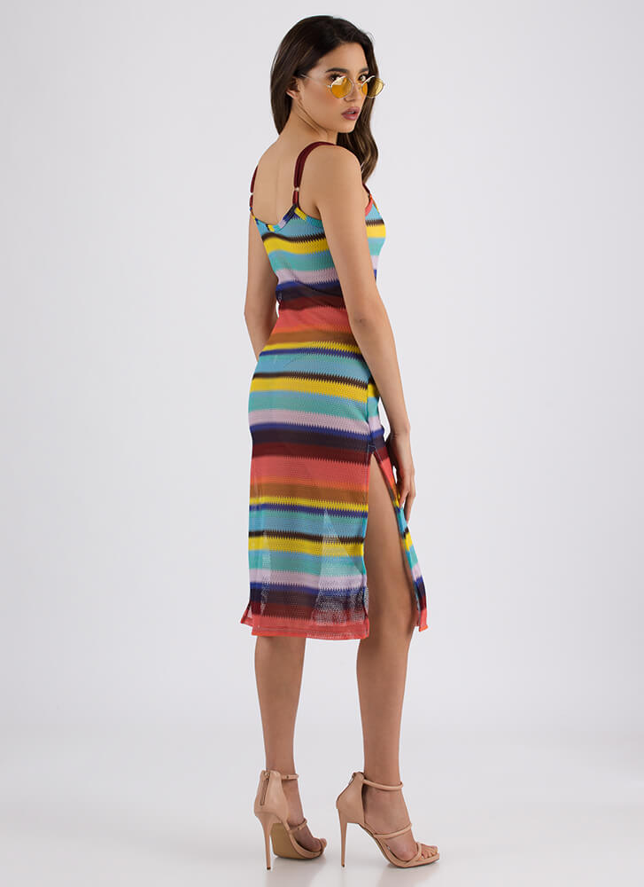 Candy-Coated Striped Double Slit Dress MULTI