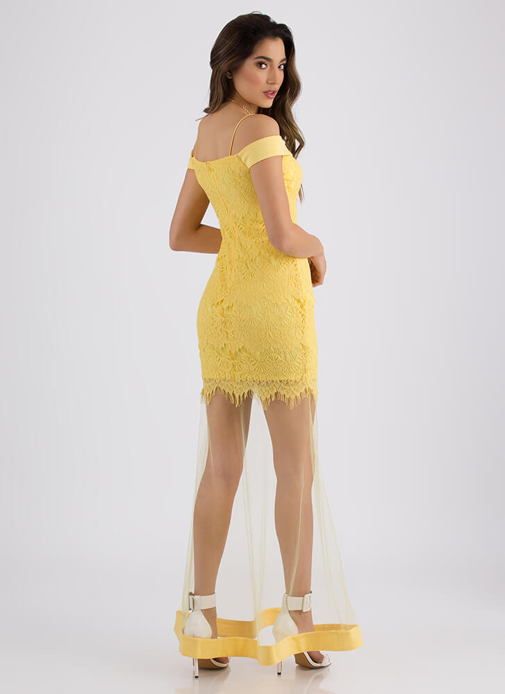 Sheer Beauty Off-Shoulder Lace Gown YELLOW (Final Sale)