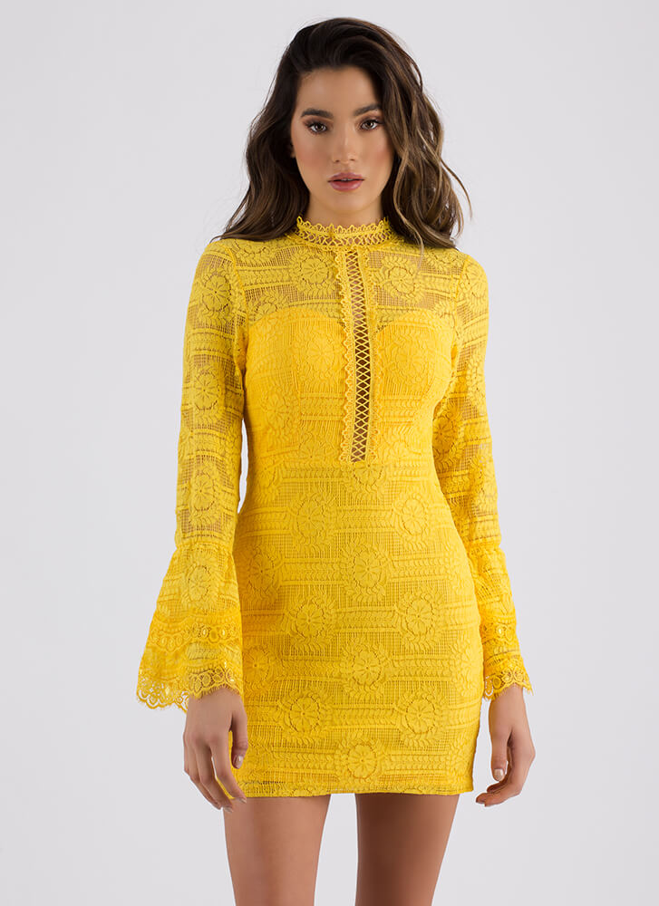 All About Lace Mockneck Minidress YELLOW