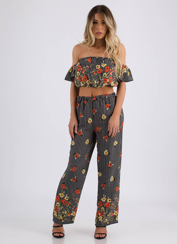 Falling Flowers Striped Top And Pant Set BLACK