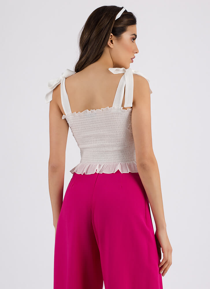 Full Of Whimsy Ruffled Bow Strap Top WHITE