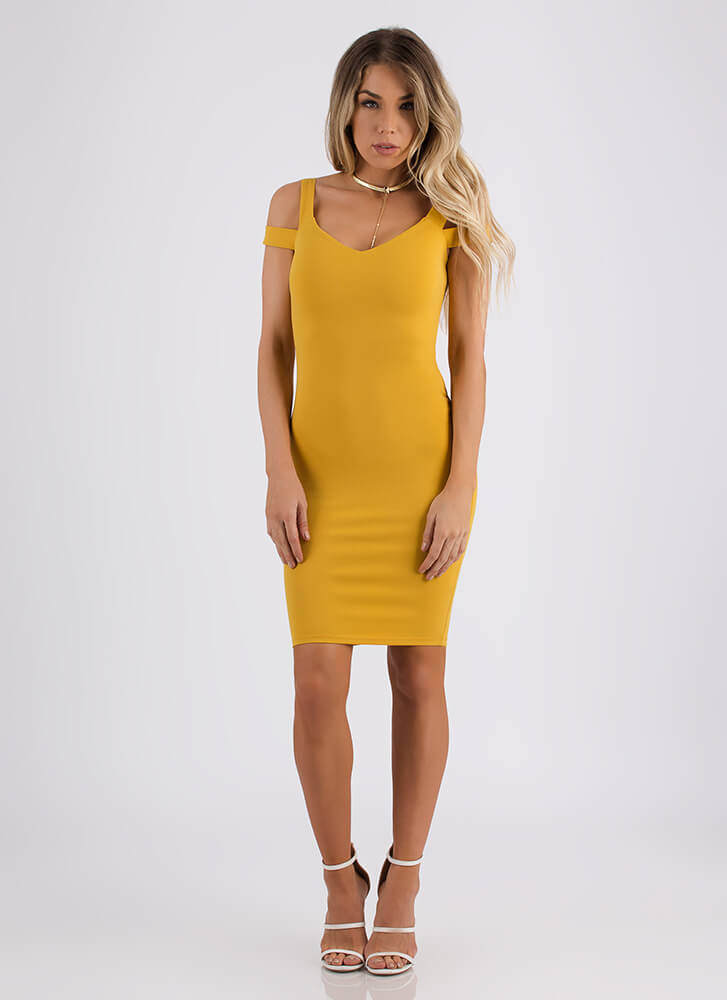All On My Shoulders Strappy Midi Dress MUSTARD