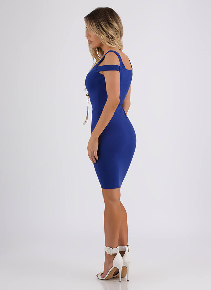All On My Shoulders Strappy Midi Dress ROYAL