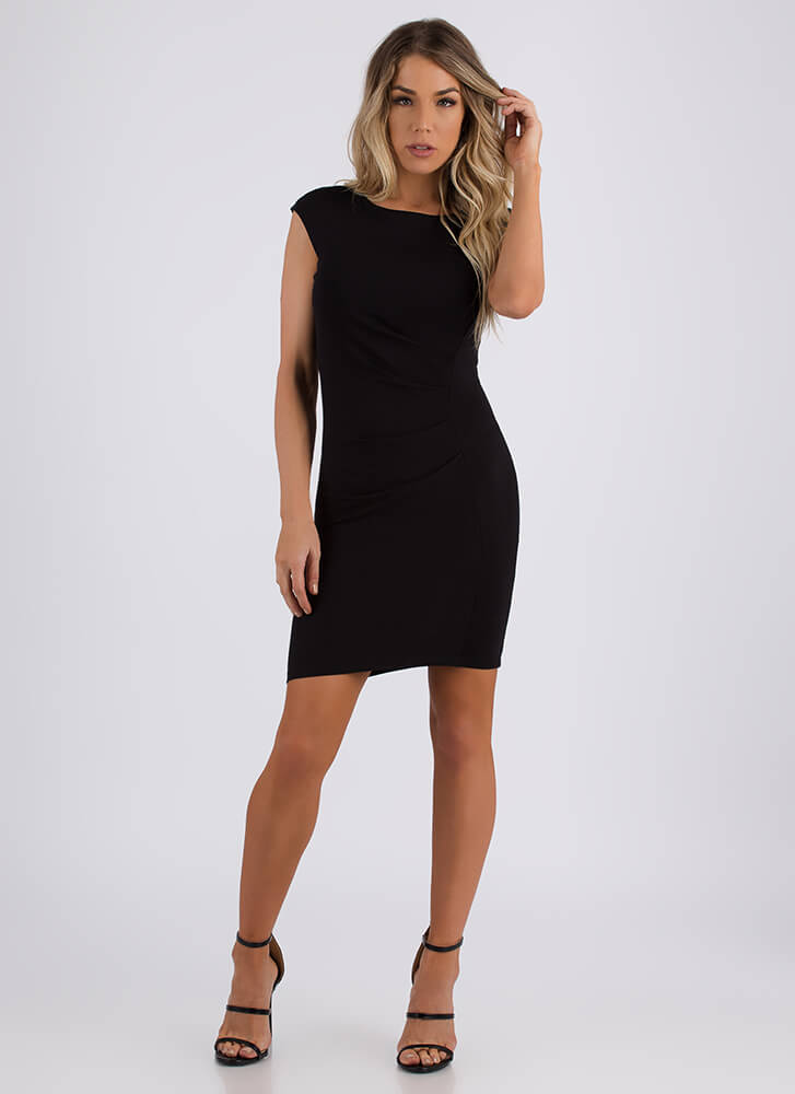 Feather In My Cap Sleeve Pleated Dress BLACK