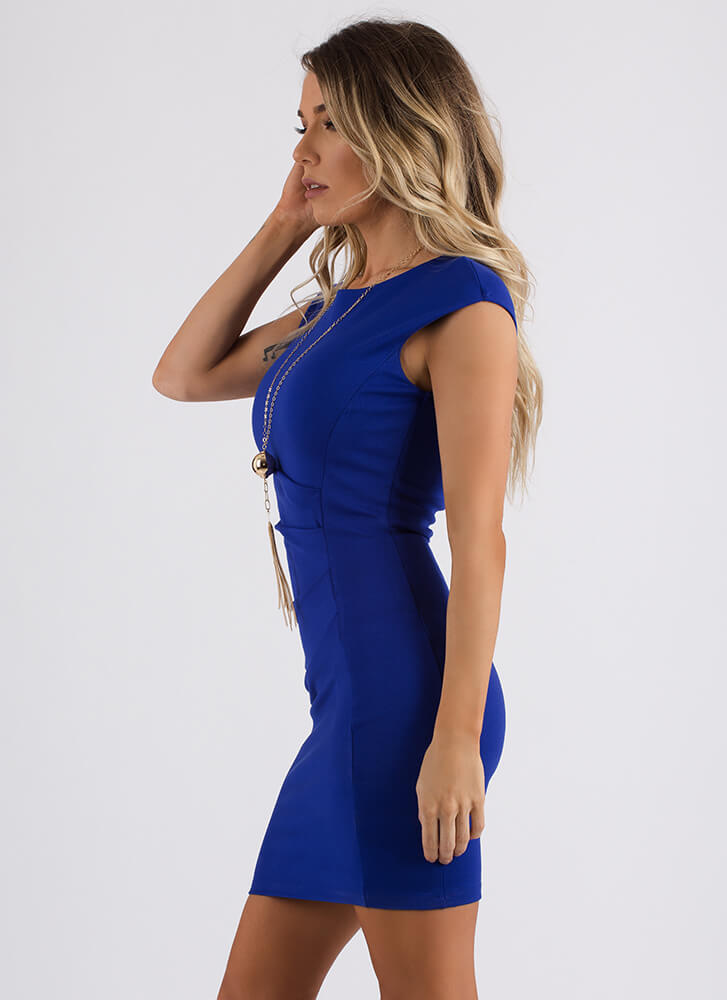 Feather In My Cap Sleeve Pleated Dress ROYAL