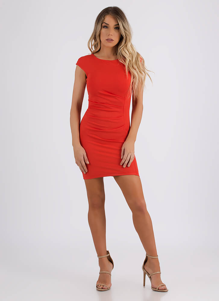 Feather In My Cap Sleeve Pleated Dress TANGERINE