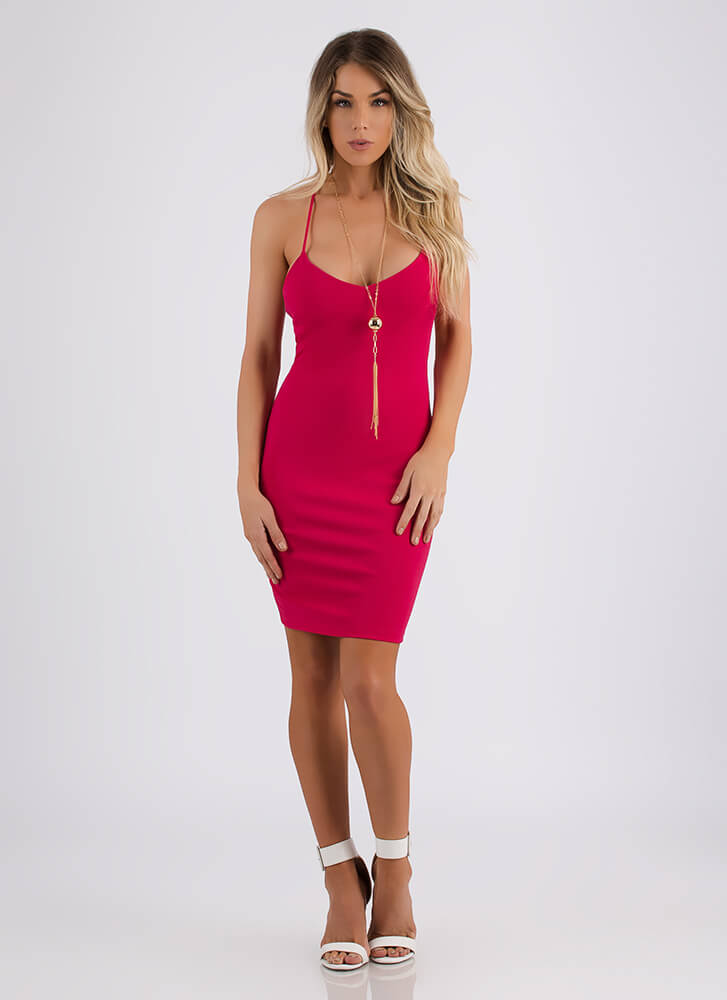 My Two X's Strappy Cut-Out Dress FUCHSIA (You Saved $17)
