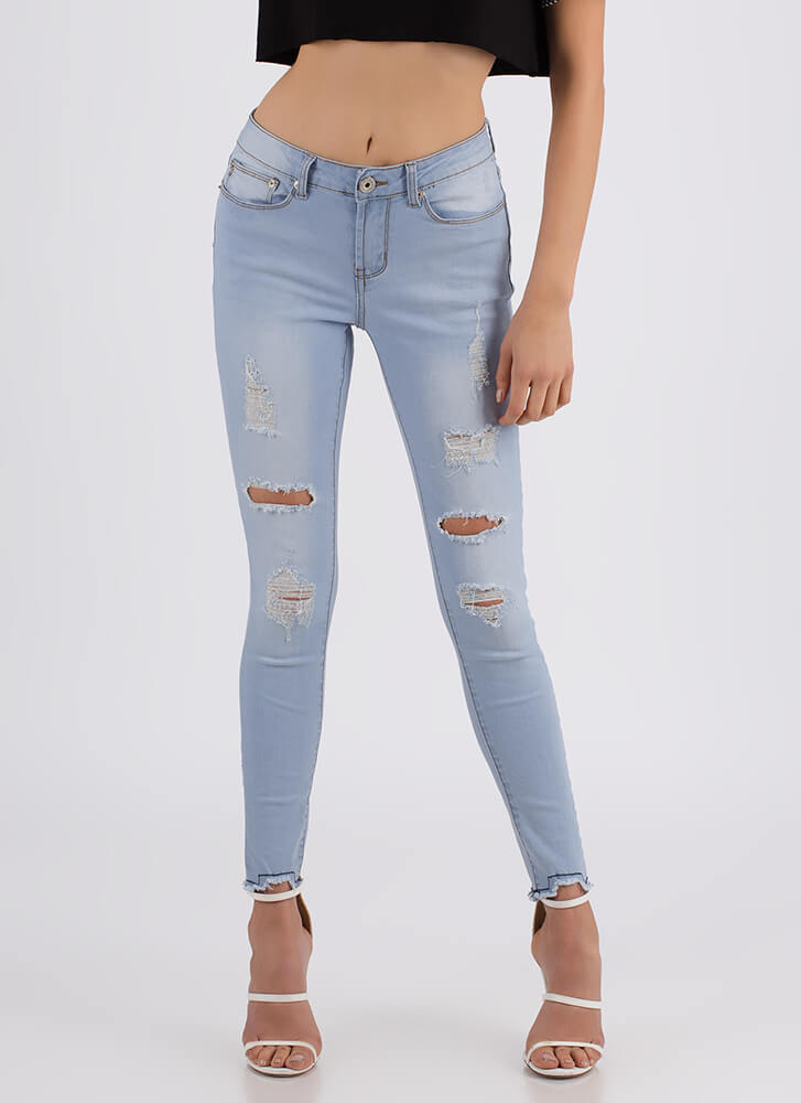Bite The Bullet Distressed Skinny Jeans LTBLUE