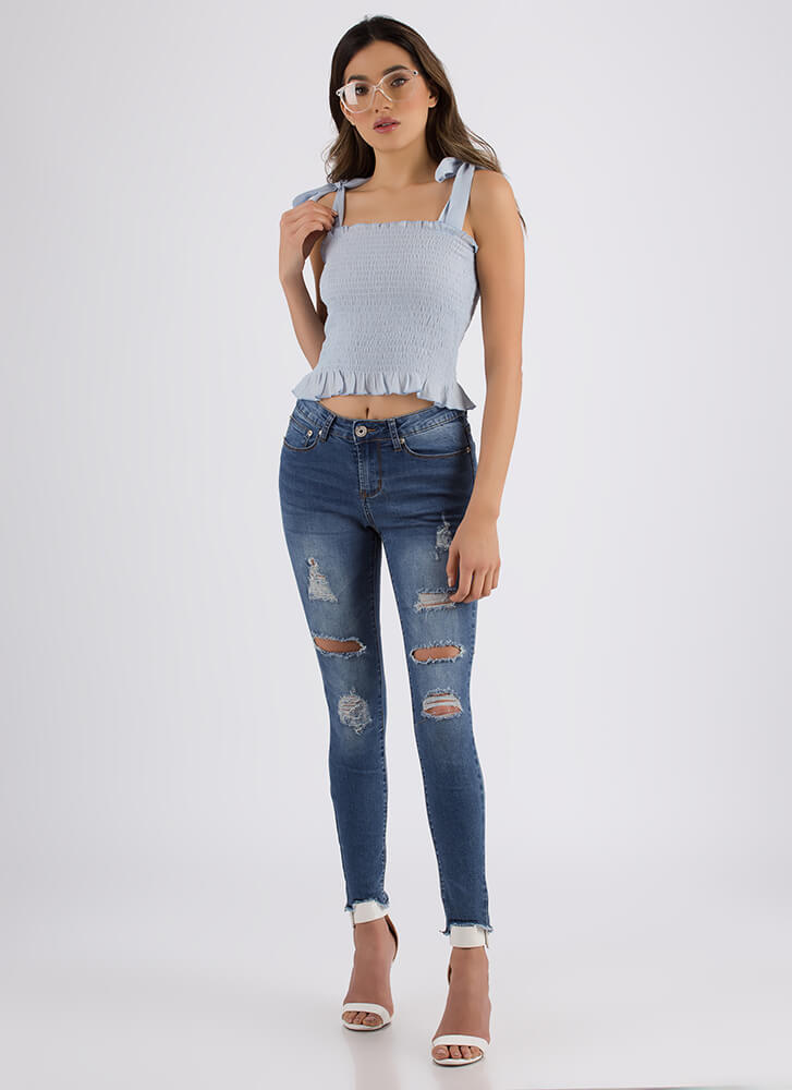Bite The Bullet Distressed Skinny Jeans MEDBLUE