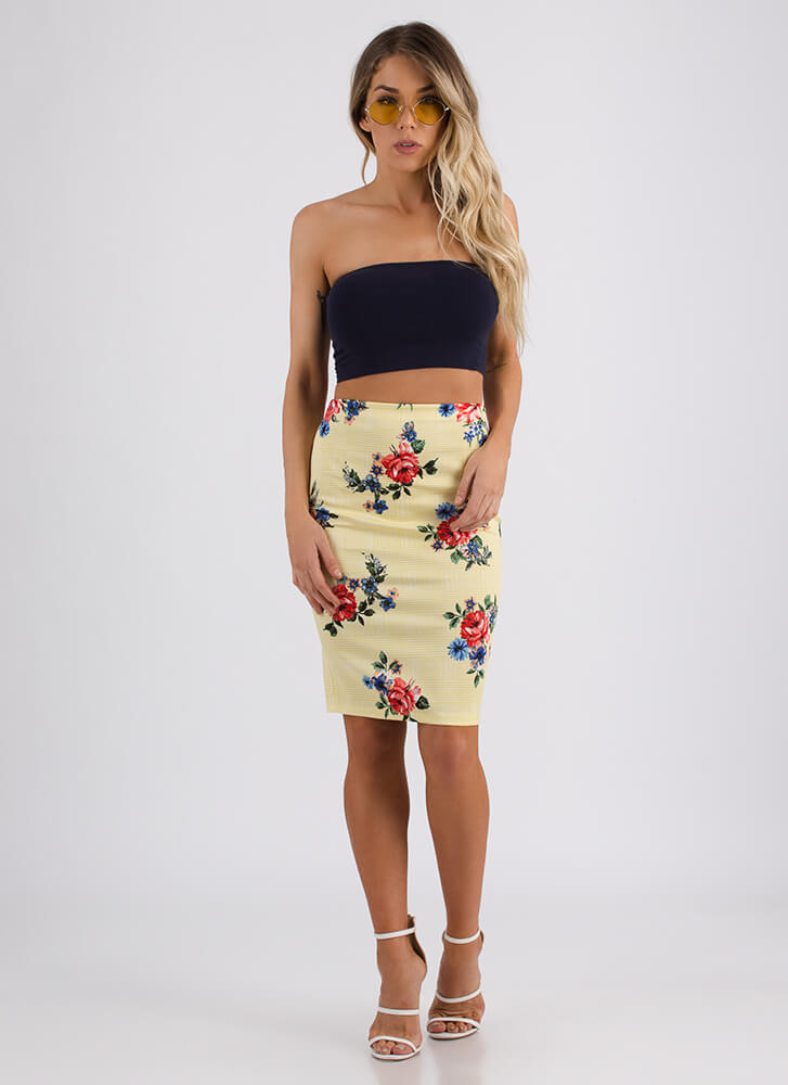 Green Thumb Floral Plaid Pencil Skirt YELLOW