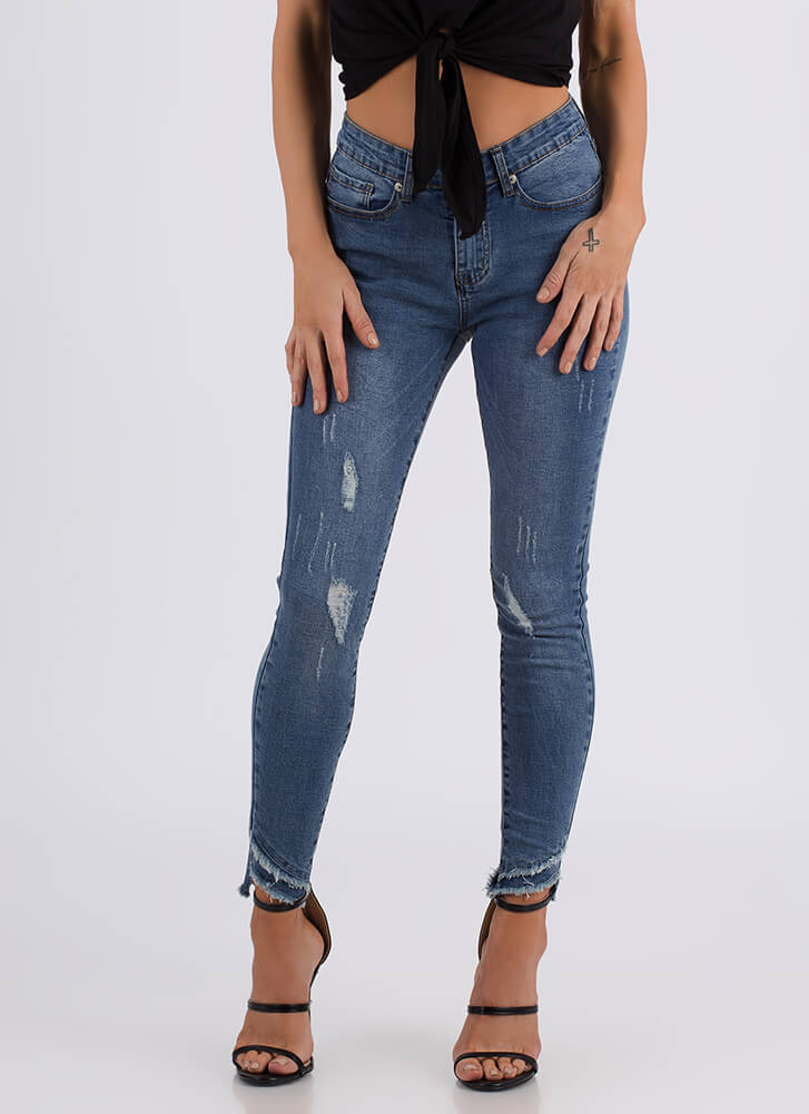 Ankle Biters Fringed Distressed Jeans BLUE