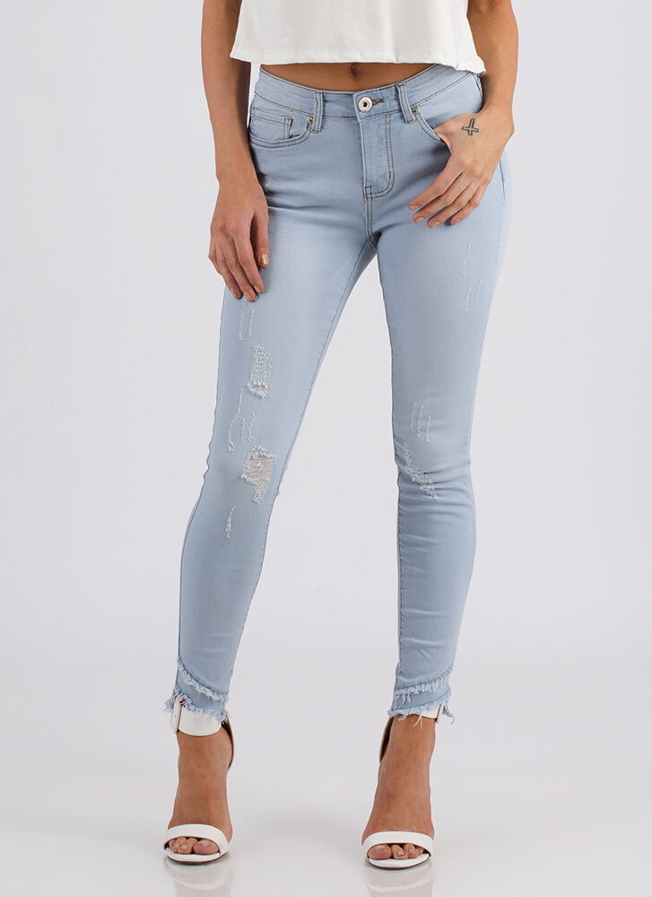 Ankle Biters Fringed Distressed Jeans LTBLUE
