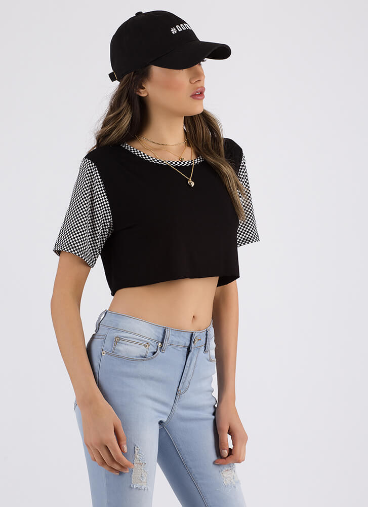 Pulses Racing Checkered Crop Top BLACK