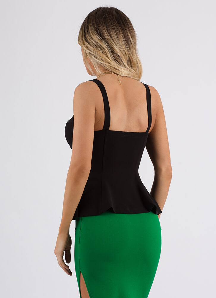 Totally Hooked Fit-And-Flare Bustier Top BLACK