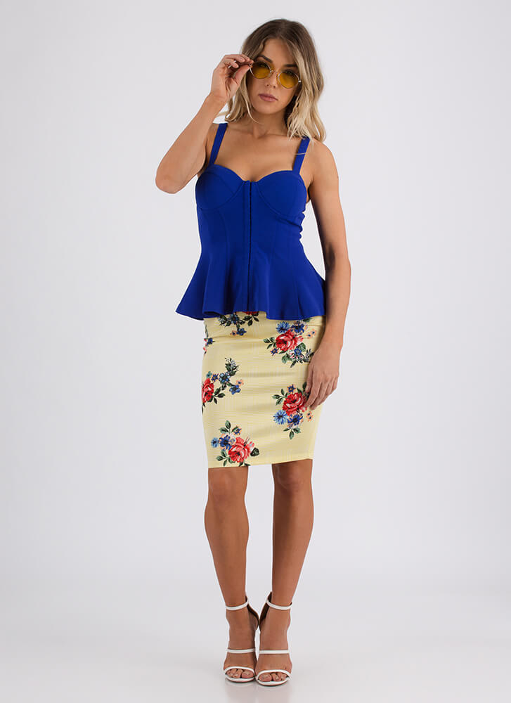 Totally Hooked Fit-And-Flare Bustier Top ROYAL