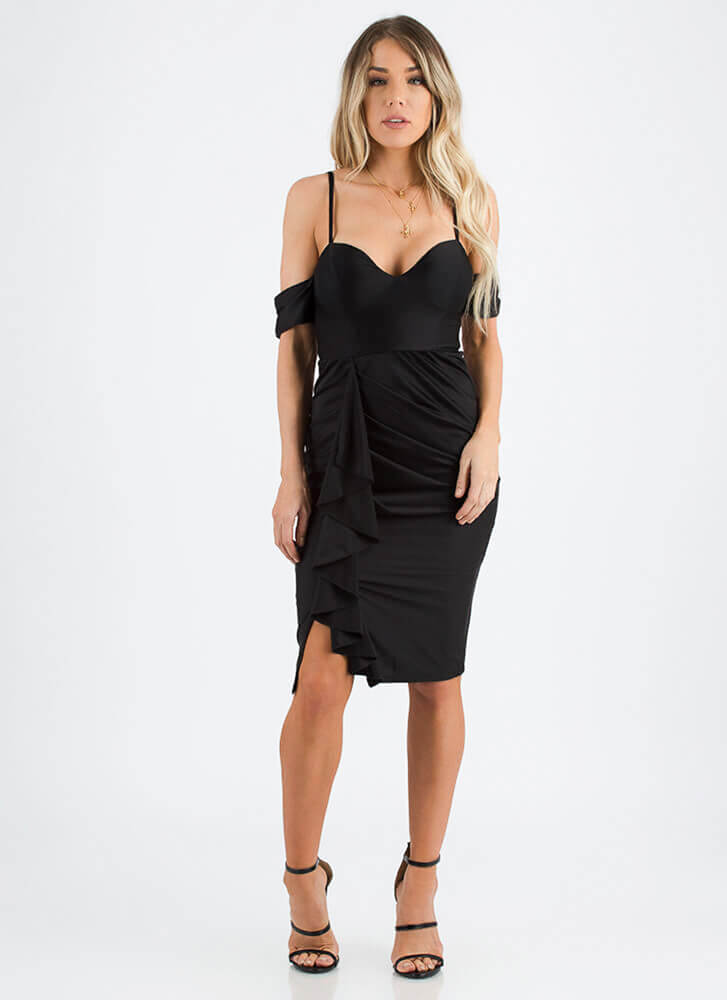 Glamour Girl Ruffled Sweetheart Dress BLACK