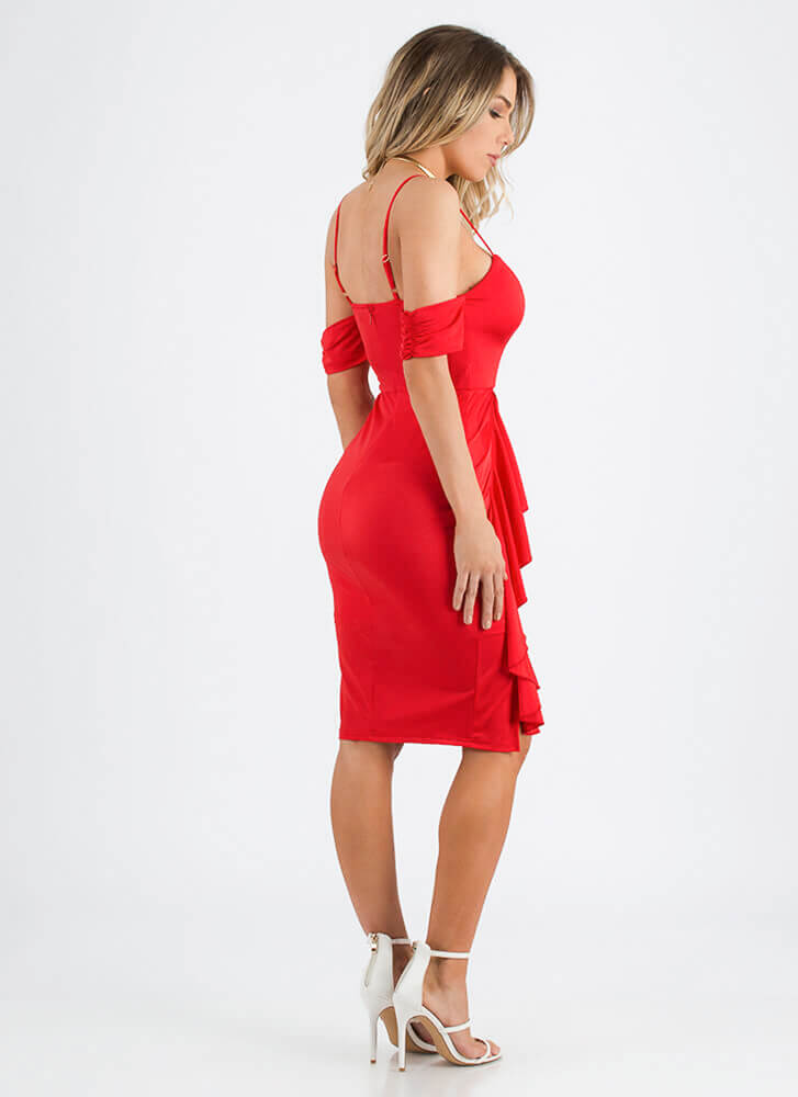 Glamour Girl Ruffled Sweetheart Dress RED