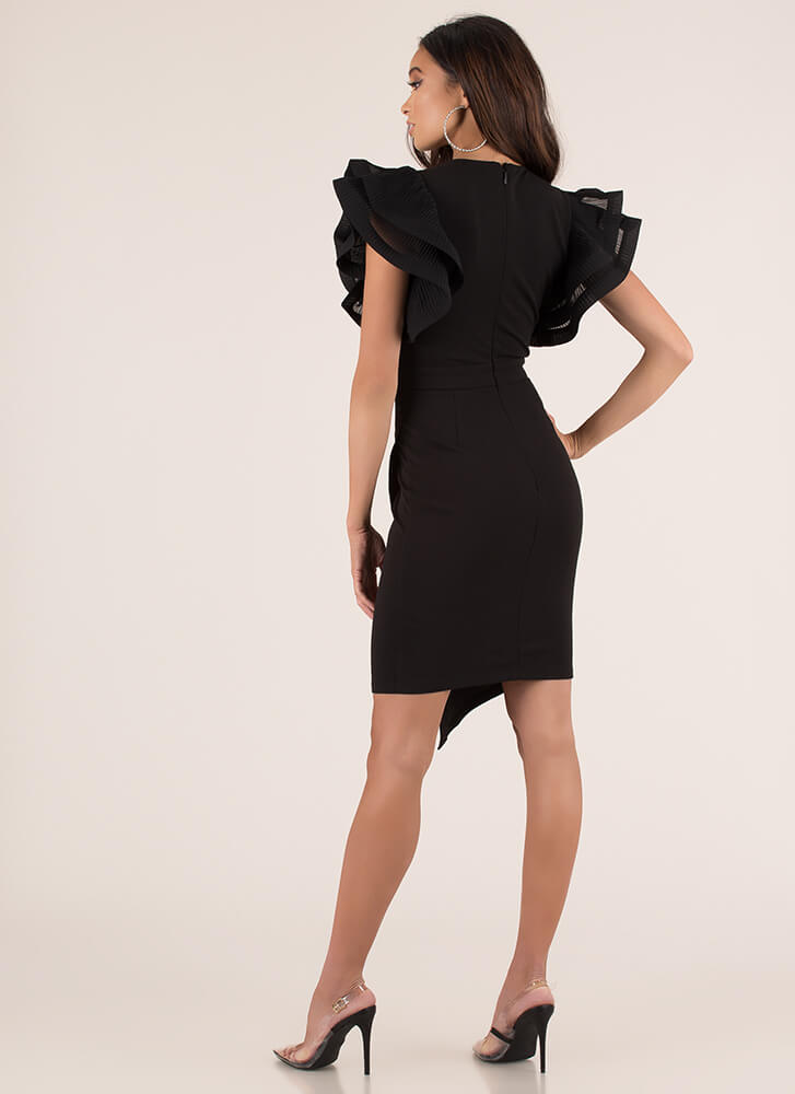 Wrap Party Ruffle Sleeve Dress BLACK