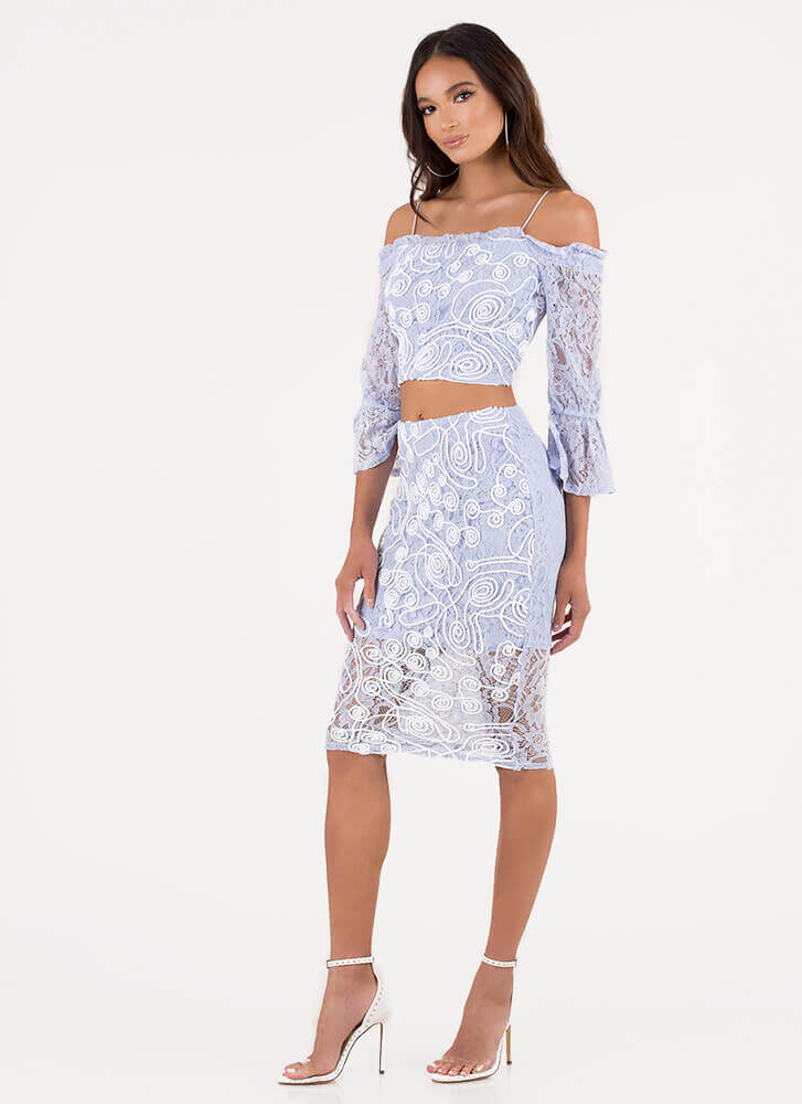 Lace Get Creative Top And Skirt Set LTBLUE